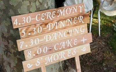 Una paleta para presentar el programa de su boda